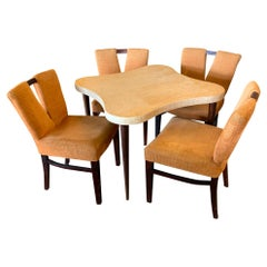 Mid Century Modern Paul Frankl for Johnson Game Table Set 4 Orange V Chairs