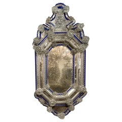 19th Century Venetian Etched Glass Mirror with Blue Borders