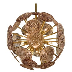 Pink Murano Glass and Brass Disc Form Sputnik Sphere Chandelier