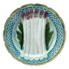 French Majolica Asparagus Plate Orchies, circa 1890