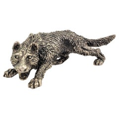 Antique Art Deco Cast Continental Silver Crouched Wolf Sculpture or Figurine
