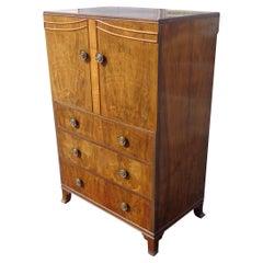 Antique Walnut Burl Dresser Armoire Linen Cabinet