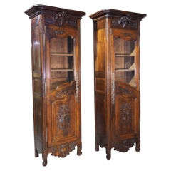 Rare Pair of 19th Century Walnut Wood Bonnetieres from Provence, France