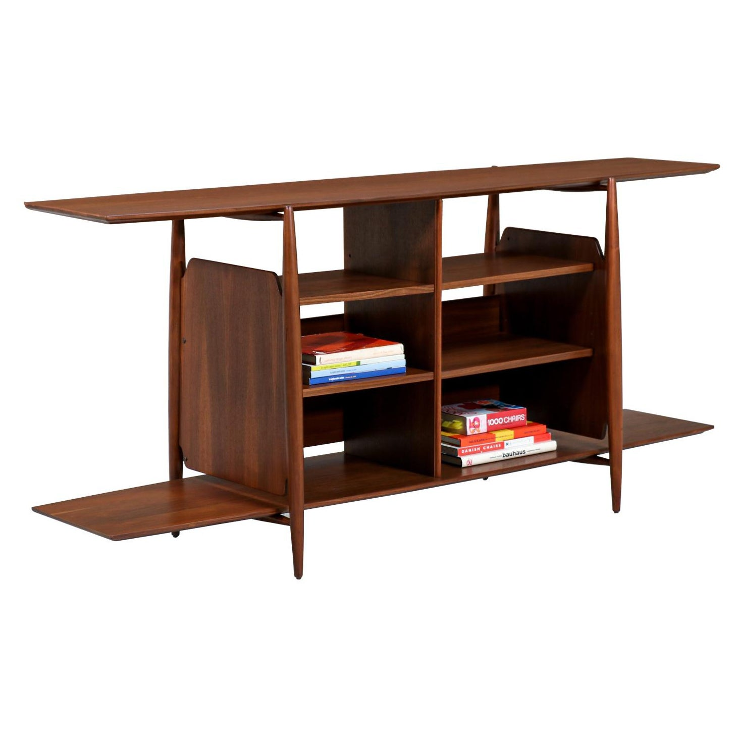 Mid-Century Modern Walnut Tier Bookshelf