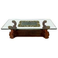 c. 1930s Harriton Carved Glass Verre Églomisé Coffee Table