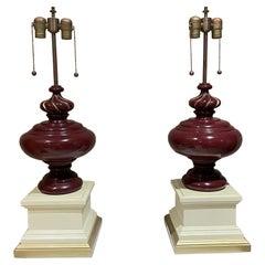 Italian Regency Table Lamps Blonde Mahogany Burgundy & Gold Parfait  1950s Italy