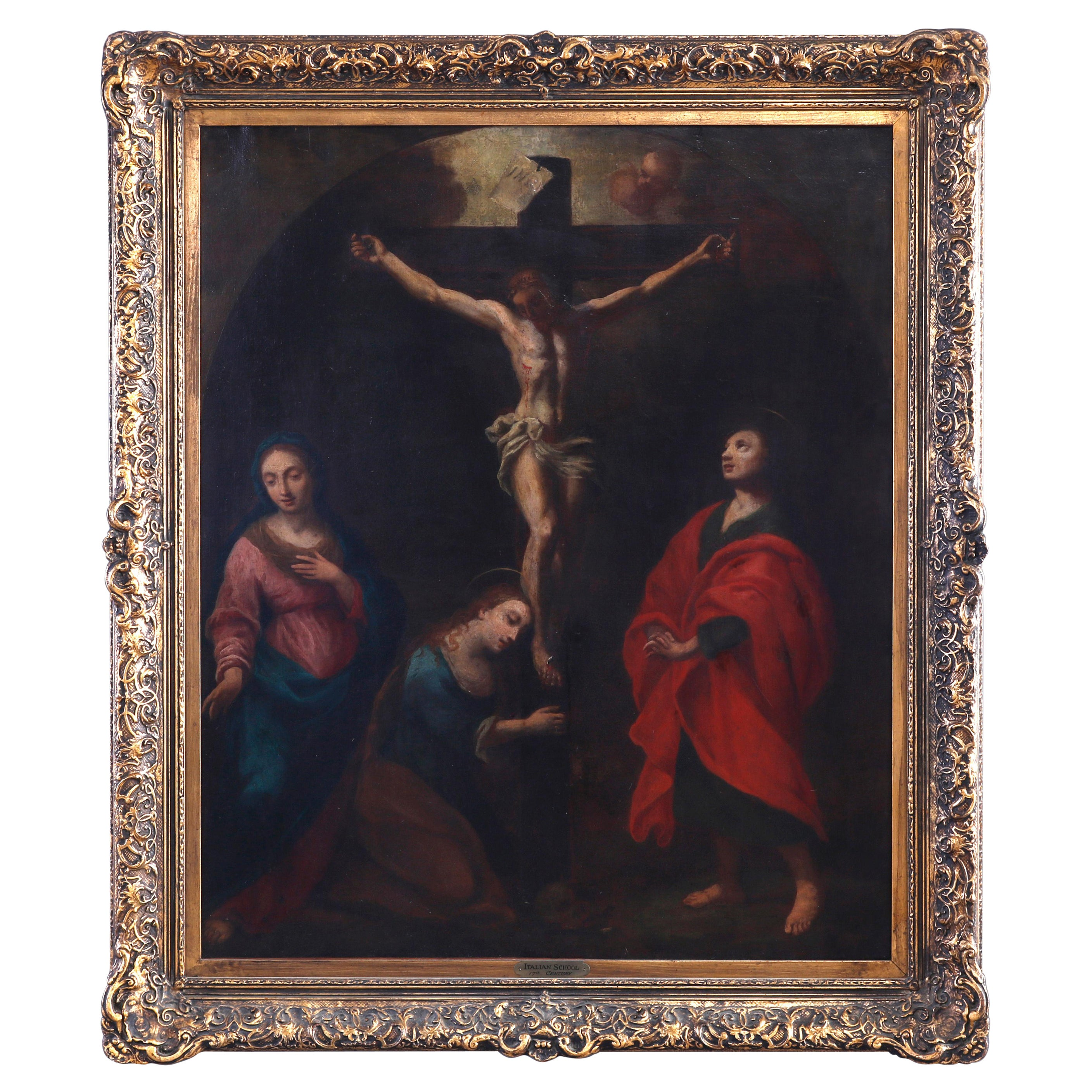 Antique Italian School Oil on Canvas Painting, Crucifixion Of Christ, 19th C