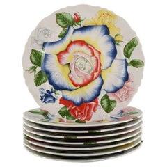 Emilio Bergamin for Taitù, Eight Large Romantica Porcelain Dinner Plates