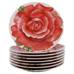 Emilio Bergamin for Taitù, Eight Romantica Porcelain Plates with Flowers