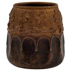 Austrian Jugendstil Bronze Vase Gustav Gurschner circa 1905 Oakleaf Decoration