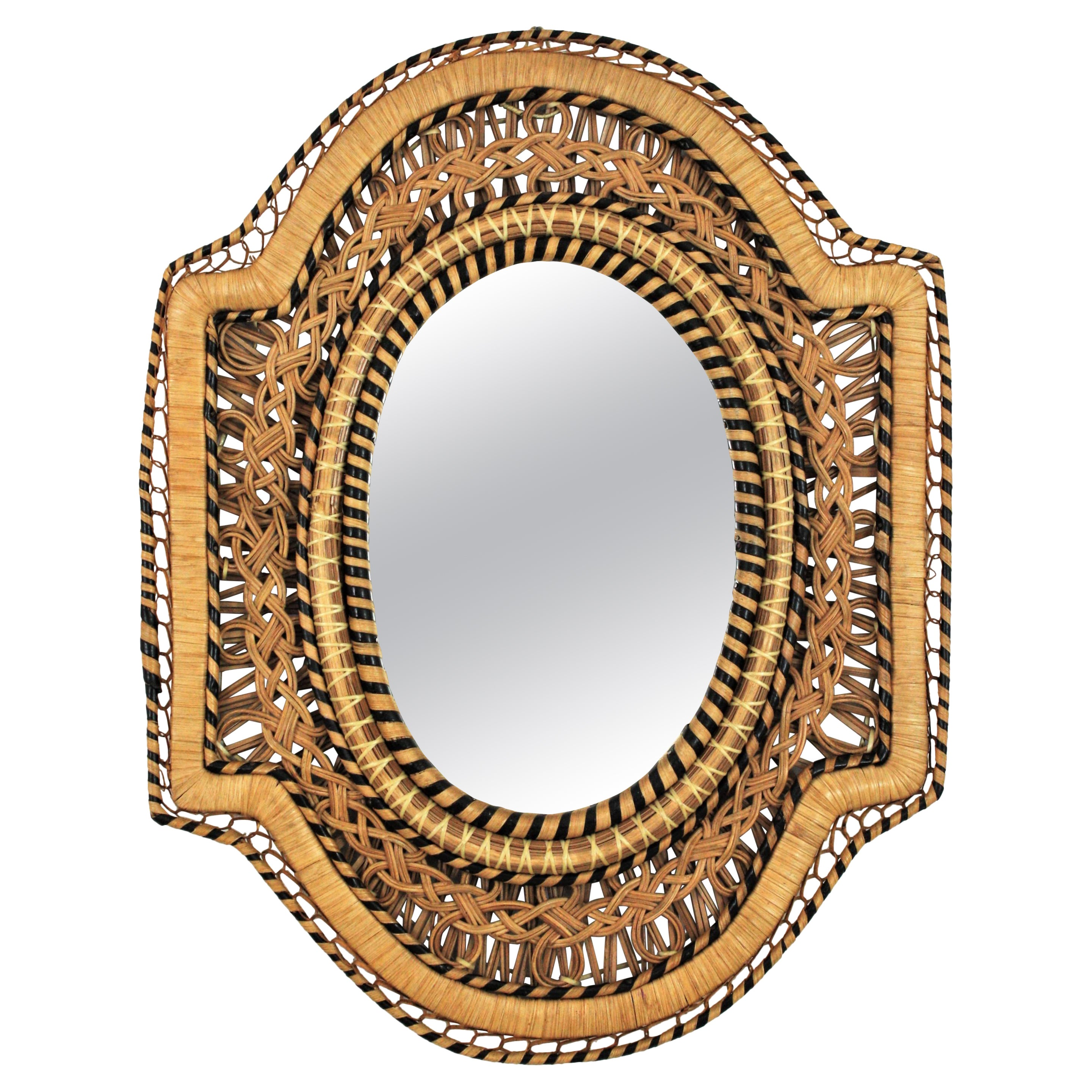 Rattan and Wicker Braided Emmanuelle Peacock Mirror, 1970s
