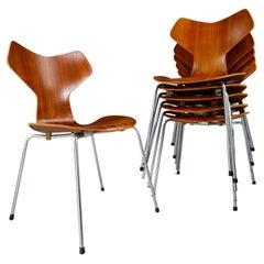 Set/6 Arne Jacobsen Grand Prix Dining Chairs for Fritz Hansen, Denmark 1960s