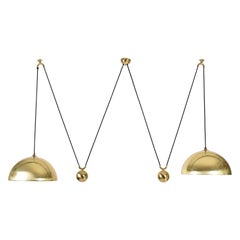 Florian Schulz Double Counterbalance Brass Chandelier, Germany, 1970