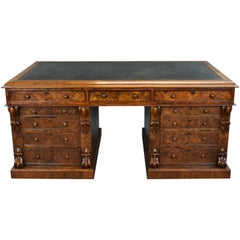 19th Century English Victorian Burr Walnut Pedestal Partners Desk