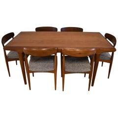 Modern Danish Teak Table & Six Chairs Uldum Mobelfabrik by Johannes Andersen