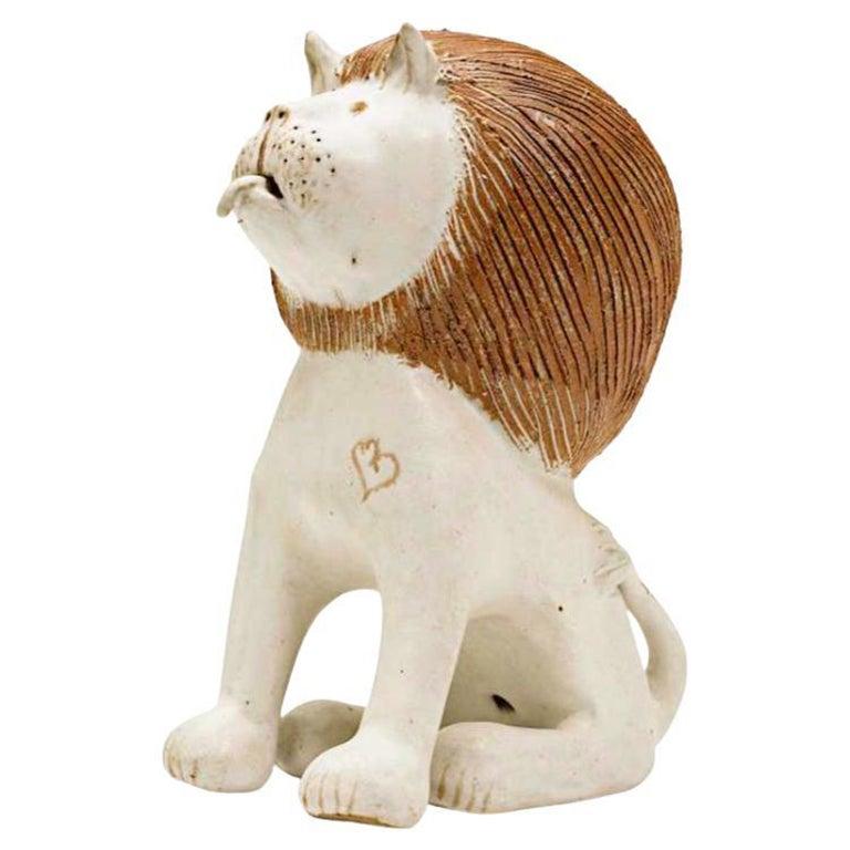 """Bruno Gambone Large Ceramic """"Seated Lion"""" Sculpture"""