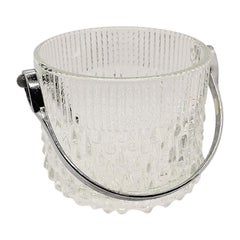 Mid Century Vintage Glass Ice Bucket with Silver Handle