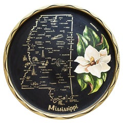 Round Mississippi Magnolia Tin Serving Tray in Black and Cream