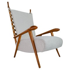 Sculptural Armchair in Oak and Reupholstered in Boucle Fabric, France, 1940s