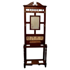 Victorian Mahogany Hall Stand with Shakespeare Tiles