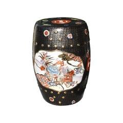 Black Chinoiserie Ceramic Garden Stool