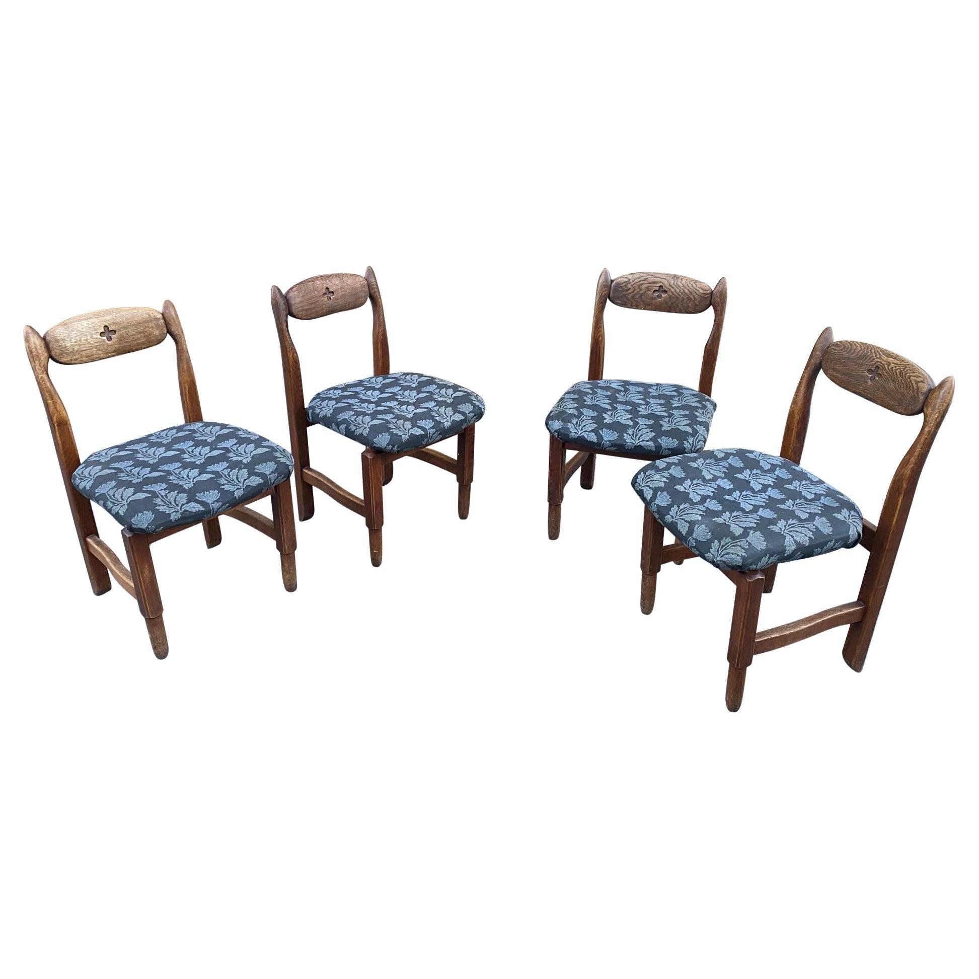 Guillerme et Chambron, 4 Oak Chairs, Edition Votre Maison, circa 1970