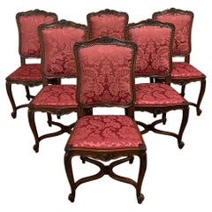 Set of 6 Antique French Louis XV Walnut Dining Chairs with Silk Damask
