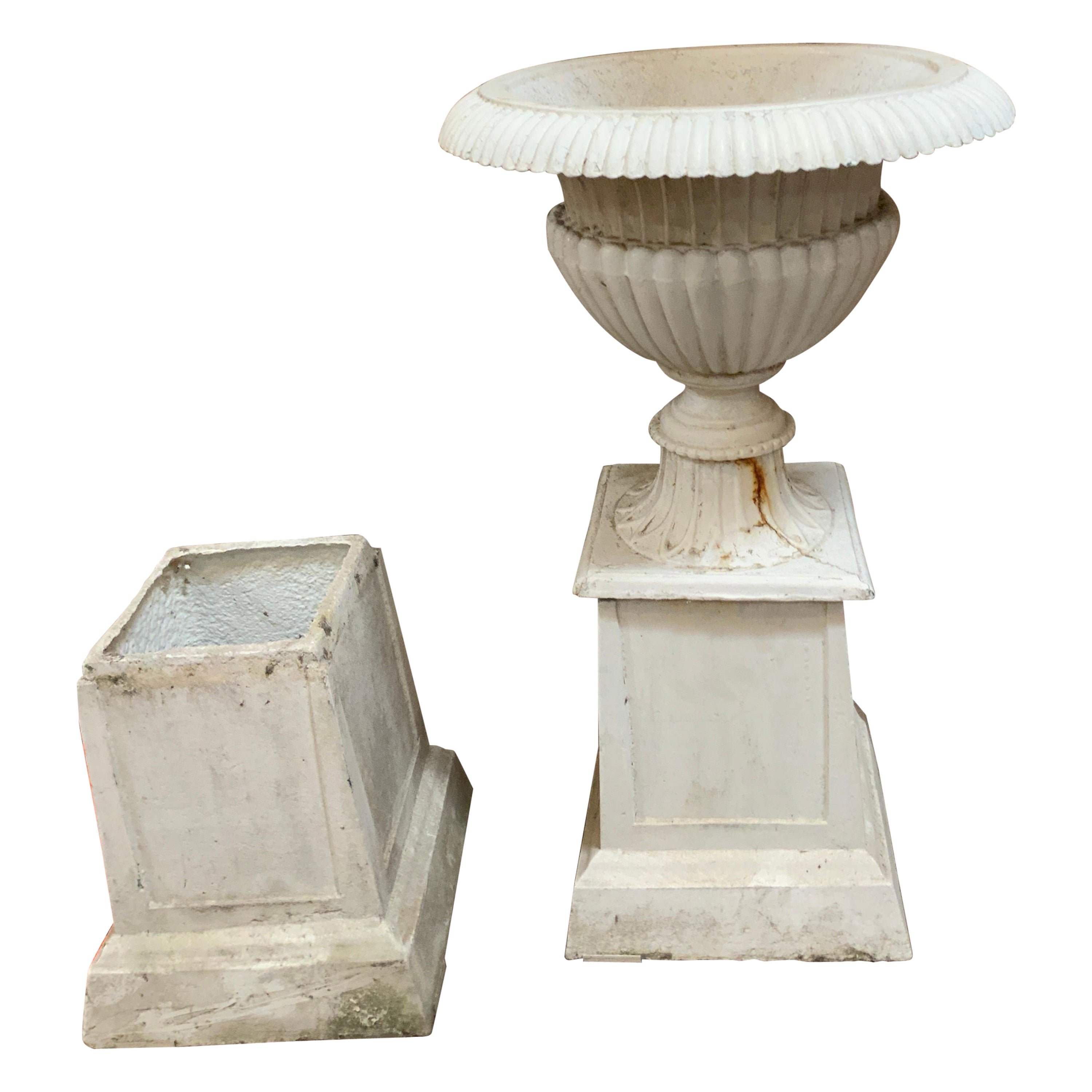 19th Century Cast Iron Planters with Base