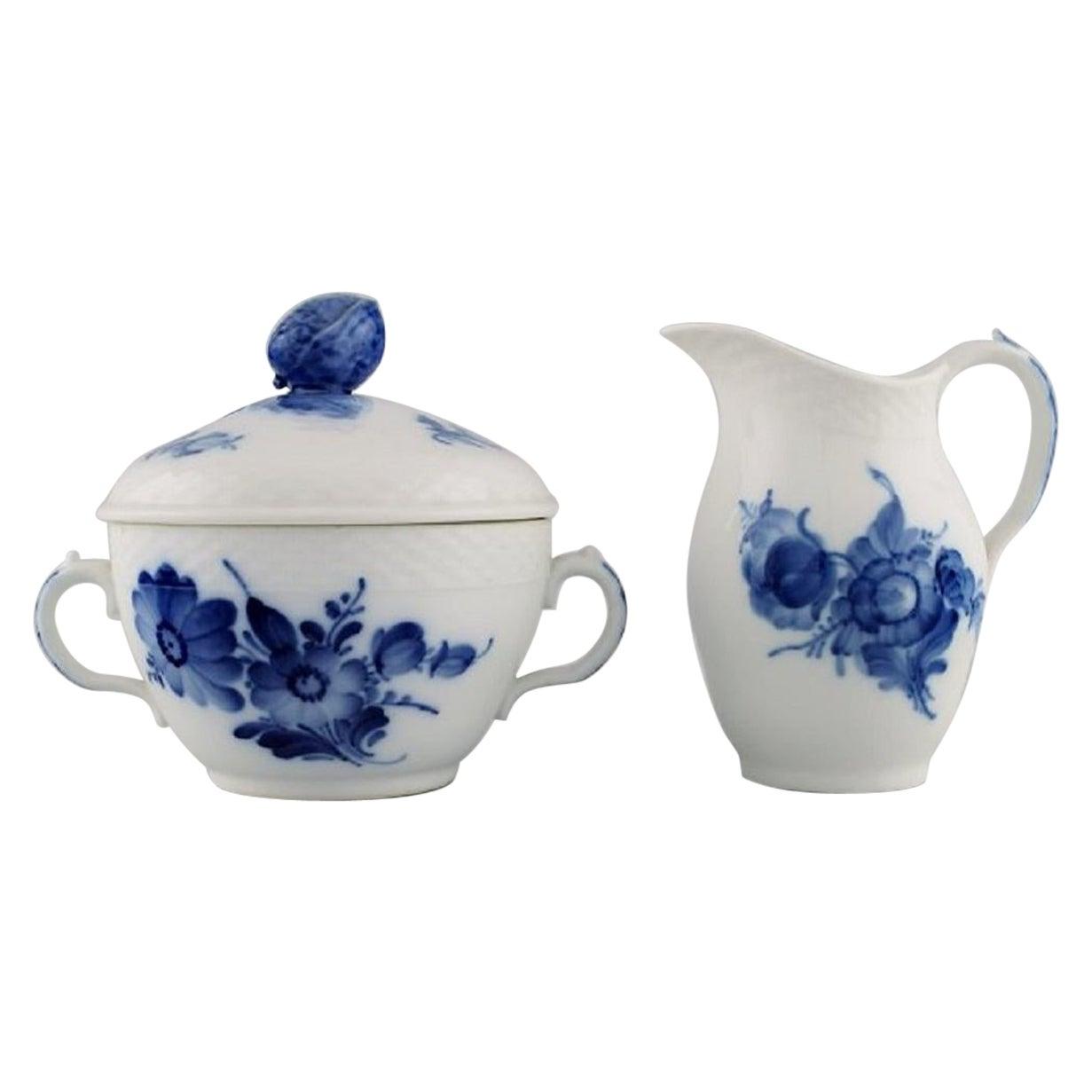 Royal Copenhagen Blue Flower Braided Sugar Bowl and Cream Jug, 1960s