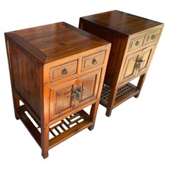 Pair of Chinese Antique Hardwood Bedside Tables