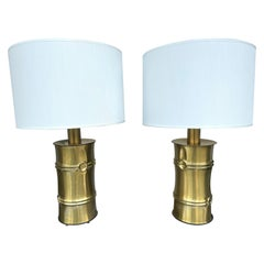 Pair of Brass Bamboo Lamps, Italy, 1970s