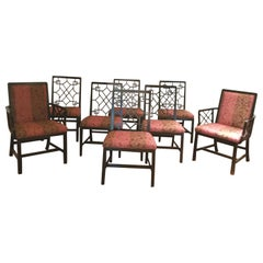 Set of 8 Ebonized Chinese Chippendale Dining Chairs By Baker