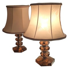 Cristal Arte Table Lamps Glass Metal Crome Fabric Lampshade, 1950, Italy