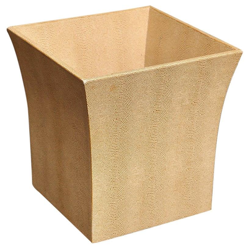 Karl Springer Embossed Leather Waste Paper Basket