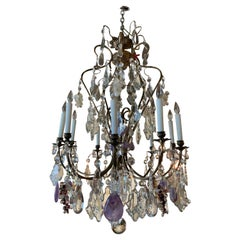 Large French Chandelier with Rock, Clear and Clusters of Amethyst Crystals