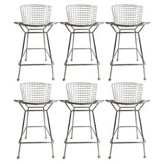 Midcentury Chrome Stools by Harry Bertoia for Knoll