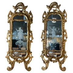 Pair of Italian Carved Gilt Wood and Mirrored Hand Etched Sconces, 19 th C