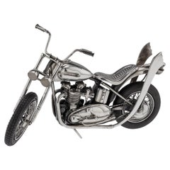 20th Century Italian Solid Silver Model Of A Harley Davidson Motorcycle, c.1970