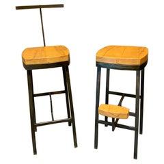 Contemporary Modern Pair of 34D Industrial Metal & Wood Bar Stools