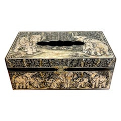 Exquisite Mother of Pearl Inlaid Lacquer Elephant Motif Tissue Box