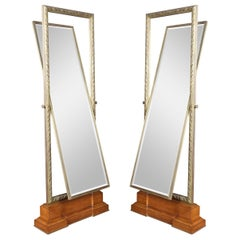 Pair of Versace Showroom Large Tooled Bronze Framed Two Sided Cheval Mirrors
