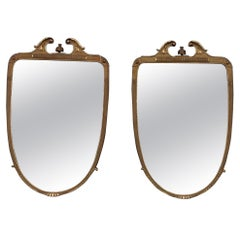 Pair of Rare Wall Mirrors Wood and Gold Leaf 1955 Cantù Giovanni Gariboldi Style