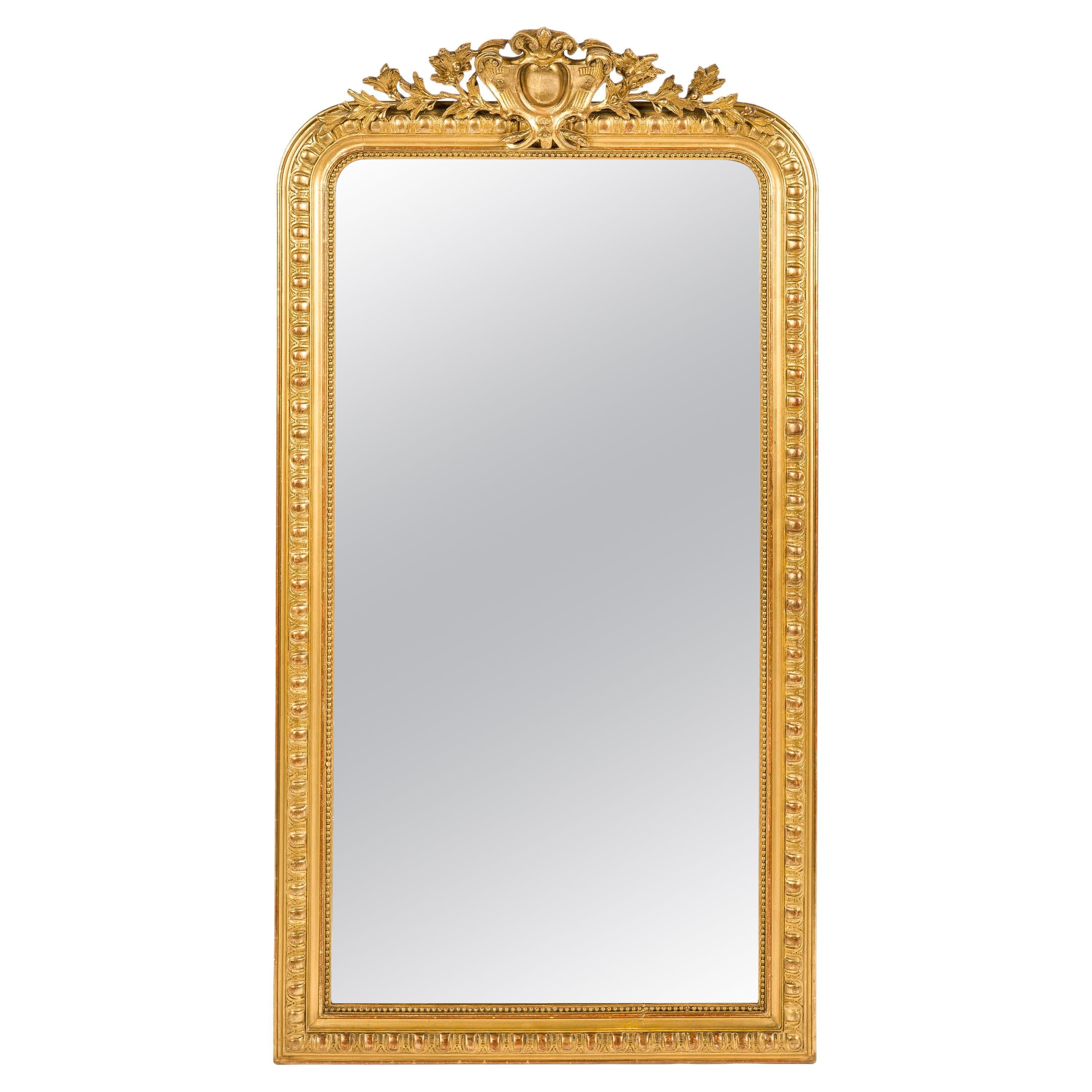 Antique 19th-Century Gadrooned French Gold Leaf Gilt Louis Philippe Mirror