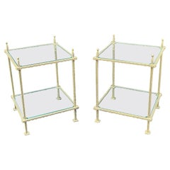 Wonderful Pair Mid Century Bronzed Iron Two-Tiered Glass Tables Claudio Rayes