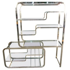 Vintage Modern Brass and Glass Etagere by DIA