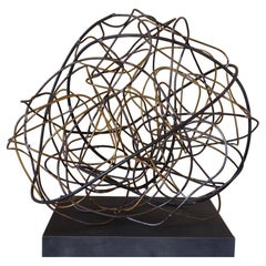 Marco Croce Abstract Sculpture Natural Steel and Brass