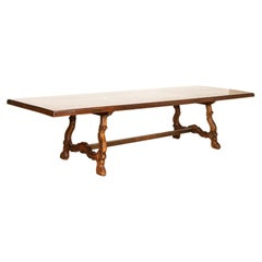 Large Antique Mahogany Dining Table from Spain