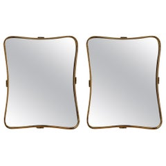 Italian, Pair of Organic Wall Mirrors, Brass, Mirror Glass, Italy, 1940s