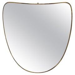 Italian, Organic Wall Mirror, Brass, Mirror Glass, Italy, 1940s
