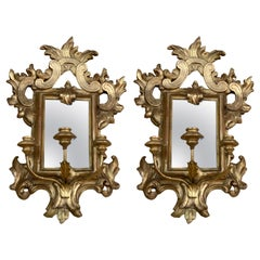 Pair of Giltwood and Mirror Sconces, 19th C. with 3 Nozzles Each